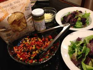 Most of the ingredients for the Cowboy Smokehouse Salad!  (Photo Credit: Adroit Ideals)