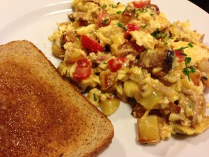 Smoked Pork Scramble served with buttered whole wheat toast!  (Photo Credit: Adroit Ideals)