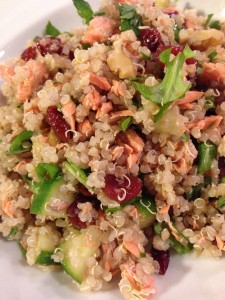 Healthy Quinoa Salad with Sockeye Salmon, Cucumber, Cranberries and Walnuts (Photo Credit: Adroit Ideals)