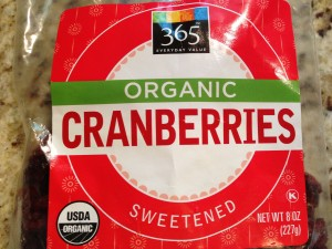 Whole Foods Market's 365 brand Sweetened Organic Cranberries (Photo Credit: Adroit Ideals)