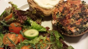 Sockeye Salmon Burger and a fresh Garden Salad (Photo Credit: Adroit Ideals)