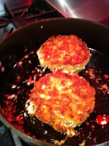 Crab Cakes saute in the pan (Photo Credit: Adroit Ideals)