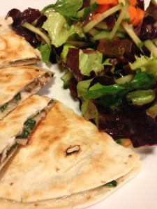 Garden Vegetable Quesadilla goes great with a salad!  (Photo Credit: Adroit Ideals)
