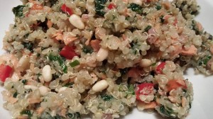 Quinoa with Baked Salmon Flakes, Red Bell Pepper, Sauteed Spinach, Garlic, Pine nuts, and Scallions (Photo Credit: Adroit Ideals)