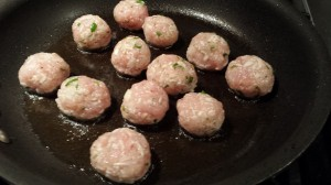 Saute the turkey meatballs in some olive oil (Photo Credit: Adroit Ideals)
