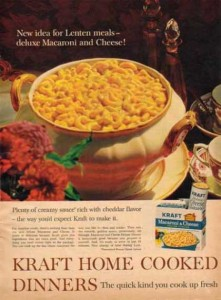 Vintage advertisement for Deluxe Kraft Macaroni and Cheese.  (Photo Credit: Vintageadbrowser.com)