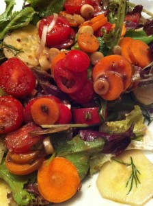 A colorful salad of herbed mixed greens, carrot, cucumber, grape tomatoes, scallions, and my tarragon balsamic dressing (Photo Credit: Adroit Ideals)