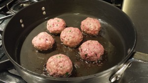 Saute the beef meatballs in olive oil over medium low heat (Photo Credit: Adroit Ideals)