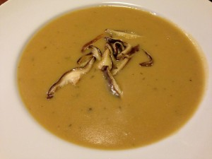 Pureed Wild Mushroom Soup with Sliced Shiitakes (Photo Credit: Adroit Ideals)