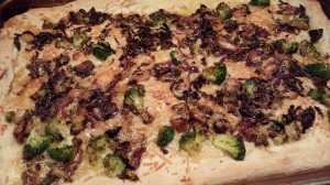 Broccoli Mushroom Shallot Pizza (Photo Credit: Adroit Ideals)