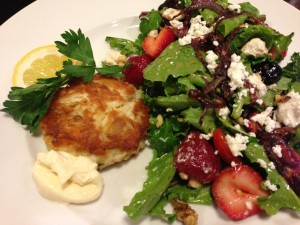 Strawberry Goat Cheese Salad served with a Crab Cake! (Photo Credit: Adroit Ideals)