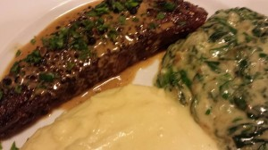 Garlicky Creamed Spinach and Arugula, Mashed Yukon Gold Potatoes and a Buffalo Steak au Poivre (Photo Credit: Adroit Ideals)