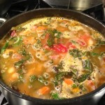 Simmering Kale and White Bean Soup with Smoked Beef Brisket (Photo Credit: Adroit Ideals)