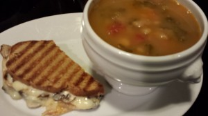 Kale and White Bean Soup with Smoked Brisket served with a Mushroom Havarti Panini (Photo Credit: Adroit Ideals)