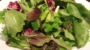 Organic spring mix makes a good bed for a main course salad (Photo Credit: Adroit Ideals)