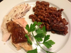 Honey Mustard Baked Beans accompany home-smoked chicken for a festive picnic meal! (Photo Credit: Adroit Ideals)