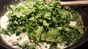 Stir in the chopped arugula until it wilts slightly (Photo Credit: Adroit Ideals)