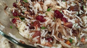Wild Rice Salad with Dried Apricots, Dried Cranberries, Pecans, Caramelized Shallots and a Citrusy Grainy Mustard Vinaigrette (Photo Credit: Adroit Ideals)