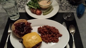 Cheeseburger with grilled onions and all the fixin's served with Honey Mustard Baked Beans (Photo Credit: Adroit Ideals)