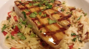 Try my Grilled Tuna over Date Shallot Bell Pepper Orzo Medley with Orange Ginger Sauce (Photo Credit: Adroit Ideals)