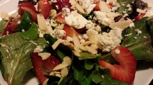 Strawberry, Toasted Almond, Herbed Goat Cheese and Mixed Greens Salad (Photo Credit: Adroit Ideals)