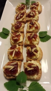 Fig Almond Cheese Toasts with Mint Garnish (Photo Credit: Adroit Ideals)