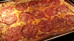 Hot from the oven: Friday Night Pepperoni and Provolone Pizza (Photo Credit: Adroit Ideals)