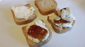 Mini-toast, Laughing Cow Cheese, Fig Jam, Toasted Sliced Almonds (Photo Credit: Adroit Ideals)
