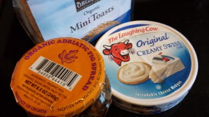 Whole Foods 365 Brand Mini-Toasts, Laughing Cow Spreadable Swiss Cheese, Adriatic Fig Spread (Photo Credit: Adroit Ideals)