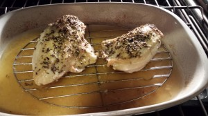 Remove the foil so the chicken breasts can brown during the remainder of roasting (Photo Credit: Adroit Ideals)