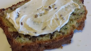 A Slice of Savory Zucchini Bread with Honey Nut Cream Cheese (Photo Credit: Adroit Ideals)
