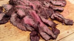 Sliced Marinated Skirt Steak for Fajitas (Photo Credit: Adroit Ideals)
