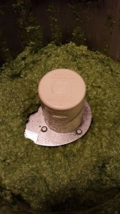 Basil Arugula Pesto gleams a gorgeous green color in the food processor (Photo Credit: Adroit Ideals)