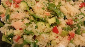 Chopped shrimp, red bell pepper, cucumber and cilantro mixed with sliced scallions, couscous, and a citrusy vinaigrette makes a colorful and delicious chilled salad  (Photo Credit: Adroit Ideals)