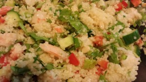 Citrus Shrimp Couscous Salad is a tasty cold salad in the summertime.  (Photo Credit: Adroit Ideals)