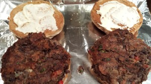 Spicy Black Bean Burgers on Toasted Buns with Garlic Aioli waiting for fixin's  (Photo Credit: Adroit Ideals)