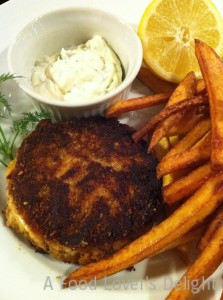 Tartar sauce accompanies my succulent crab cakes (Photo Credit: Adroit Ideals)
