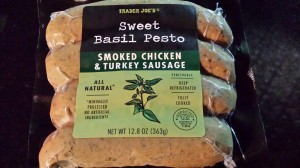 Trader Joe's Sweet Basil Pesto Smoked Chicken and Turkey Sausage (Photo Credit: Adroit Ideals)