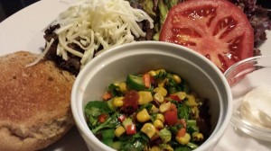 Colorful Chopped Salad with Garden Vegetables accompanies a Spicy Black Bean Burger  (Photo Credit: Adroit Ideals)