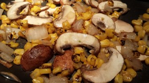 Saute the shallots, mushrooms, and roasted corn into a savory filling  (Photo Credit: Adroit Ideals)
