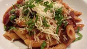 Hearty Pepperoni Mushroom Pasta.  Top with shredded Parmesan and some chopped basil.  (Photo Credit: Adroit Ideals)