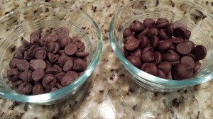 Two kinds of chocolate chips -- dark chocolate and semisweet chocolate (Photo Credit: Adroit Ideals)
