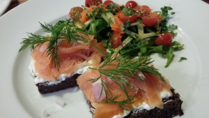 Open Face Smoked Salmon Sandwich Squares with an arugula salad (Photo Credit: Adroit Ideals)