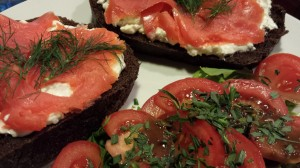 No-Cook Meal of Smoked Salmon over Herbed Cream Cheese on Pumpernickel with a Tomato Salad (Photo Credit: Adroit Ideals)