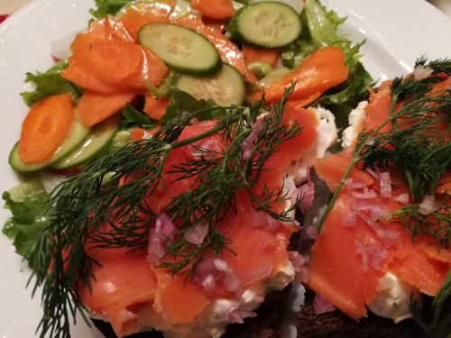 Open Face Smoked Salmon Sandwich