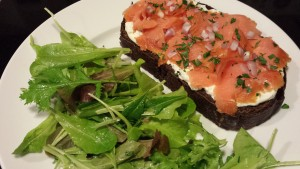 Open Face Smoked Salmon Sandwich with Chopped Tarragon and a Baby Greens Salad (Photo Credit: Adroit Ideals)