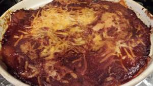 Baked Enchilada Stack just out of the oven (Photo Credit: Adroit Ideals)