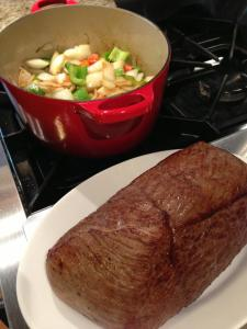 Buffalo Roast, Browned and Ready to Braise with Celery, Carrot, Onion and Green Bell Pepper (Photo Credit: Adroit Ideals)