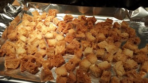 Crispy Croutons fresh from the oven for your soups and salads (Photo Credit: Adroit Ideals)