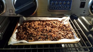 The baked granola is ready to cool (Photo Credit: Adroit Ideals)